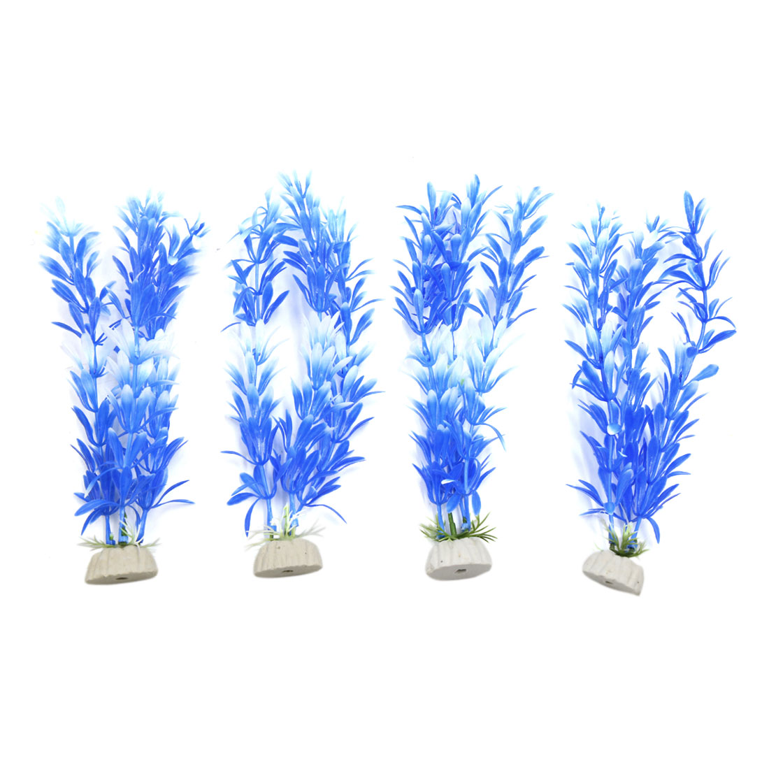 4pcs Blue Plastic Aquarium Plants Fish Tank Water Plant Decorative Ornament