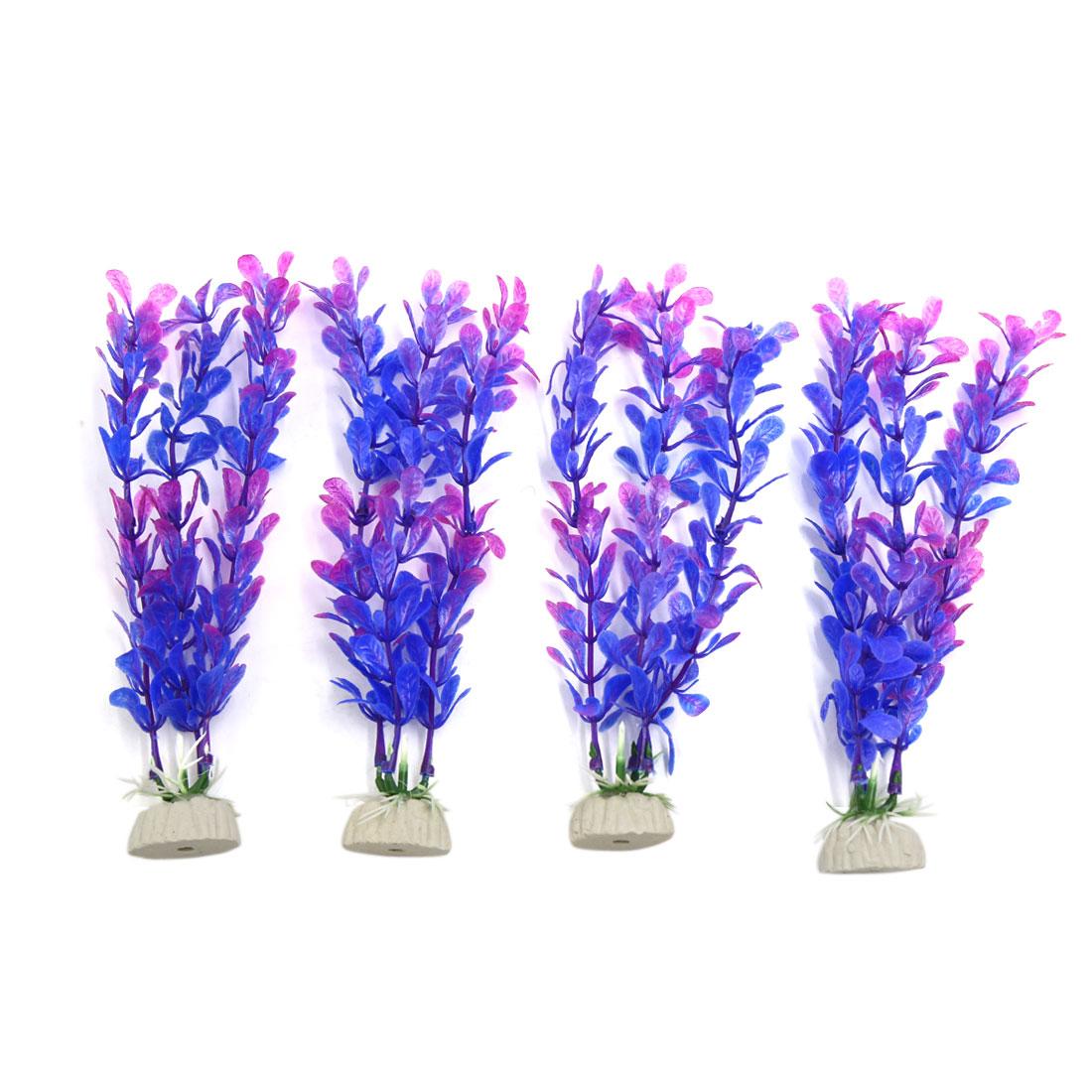 4pcs Purple Plastic Aquarium Leaves Plants Fish Tank Underwater Plant Decoration