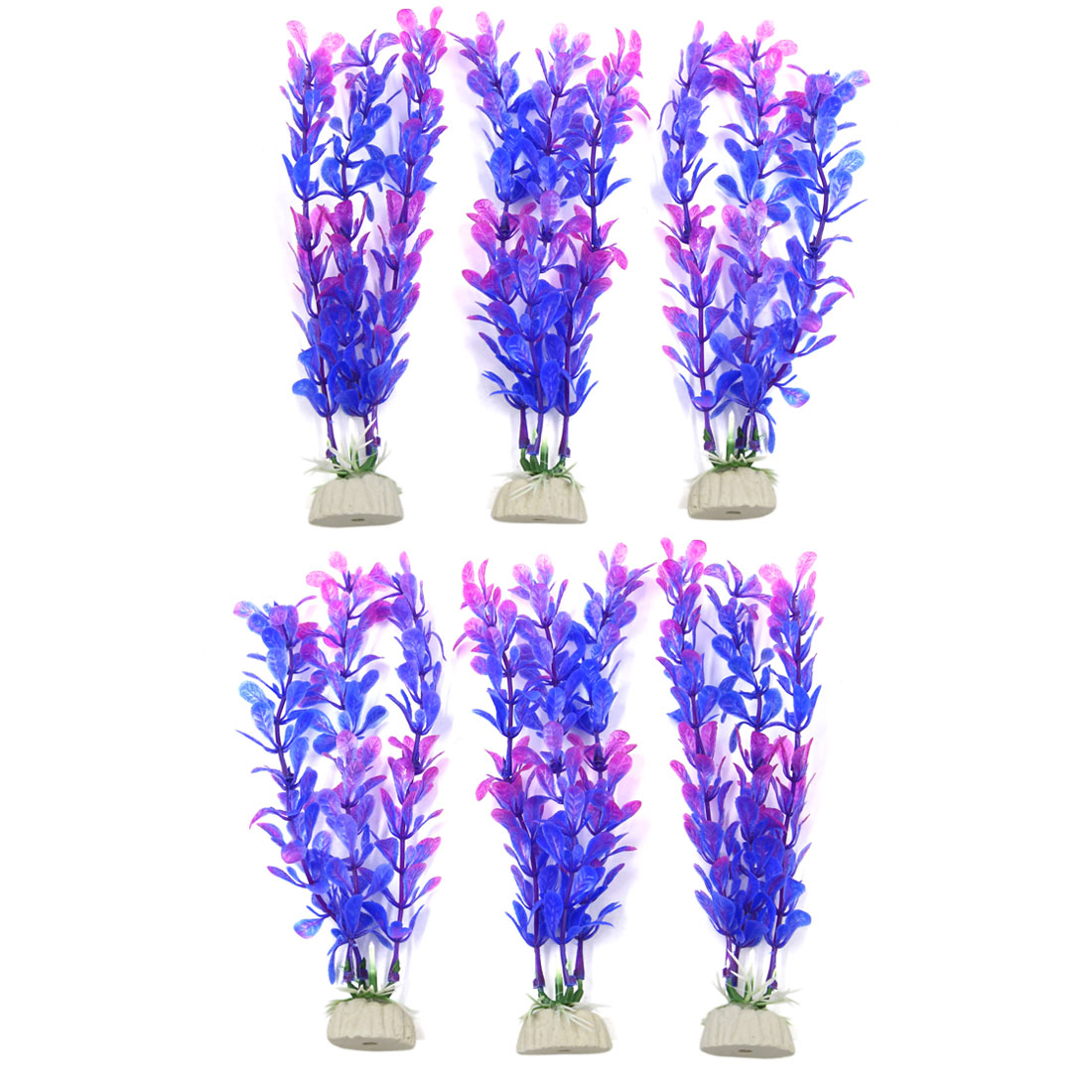 6pcs Purple Plastic Aquarium Grass Plants Fish Tank Water Plant Decor Landscape