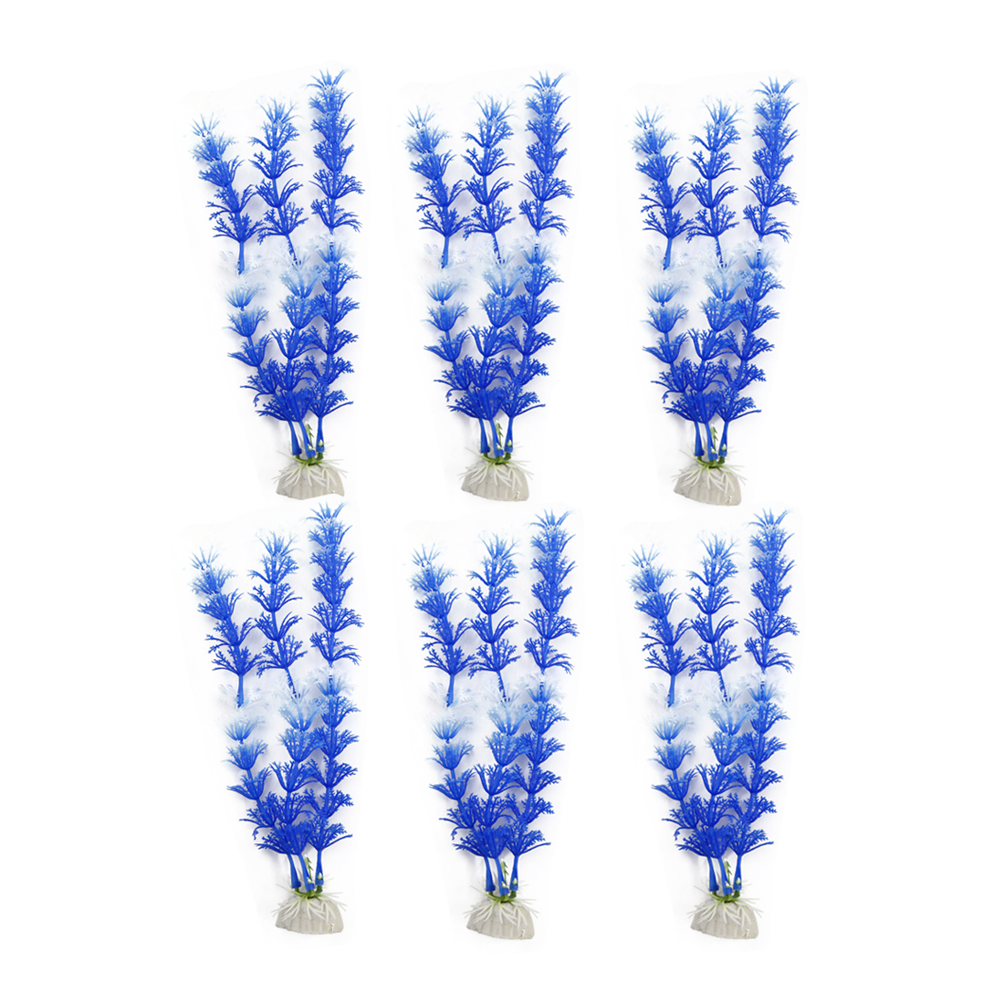 6pcs Blue Plastic Aquarium Plants Fish Tank Grass Plant Decoration Ornament
