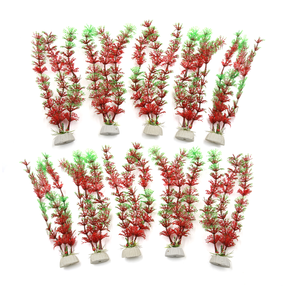 10pcs Aquarium Leaves Plants Fish Tank Water Plant Decor Landscape Red Green