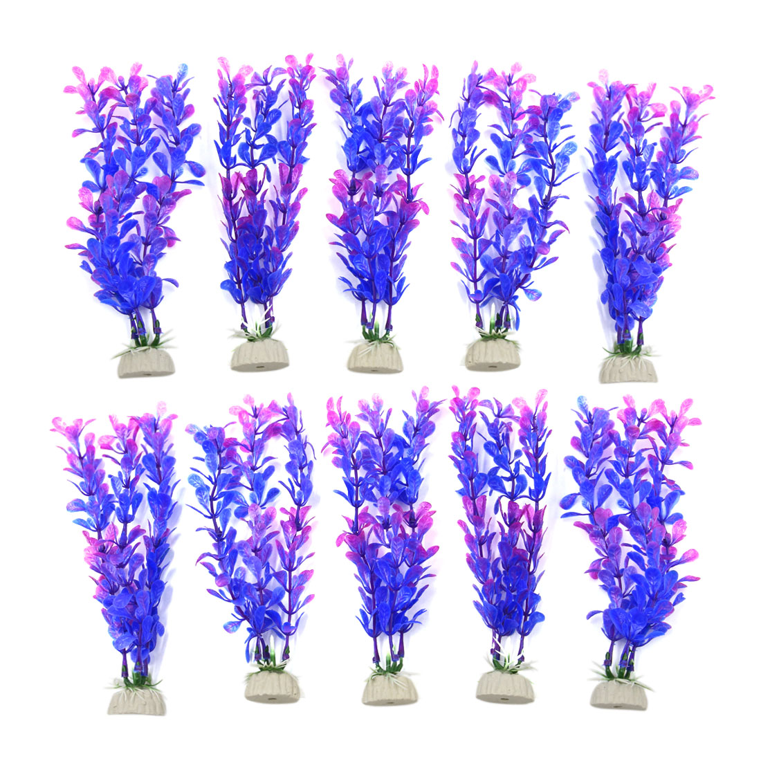 10pcs Purple Plastic Aquarium Plants Fish Tank Water Plant Decoration Ornament