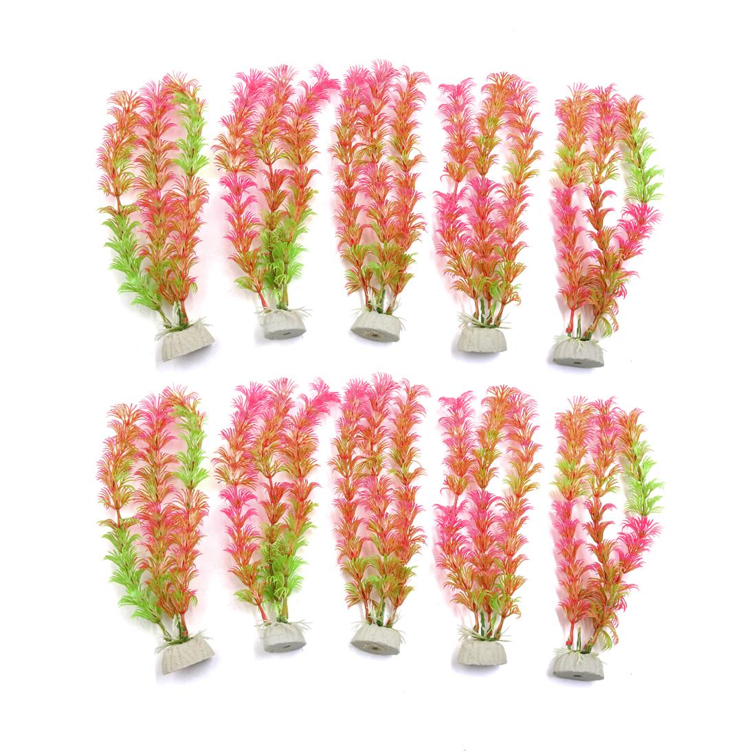 10pcs Pink Plastic Aquarium Plants Fish Tank Water Plant Decoration Ornament