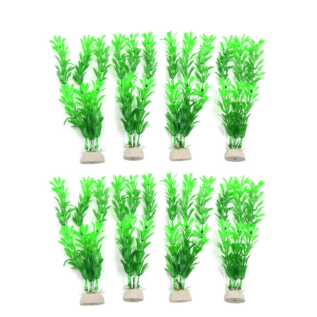 8pcs Green Plastic Aquarium Plants Fish Tank Water Plant Decoration Ornament