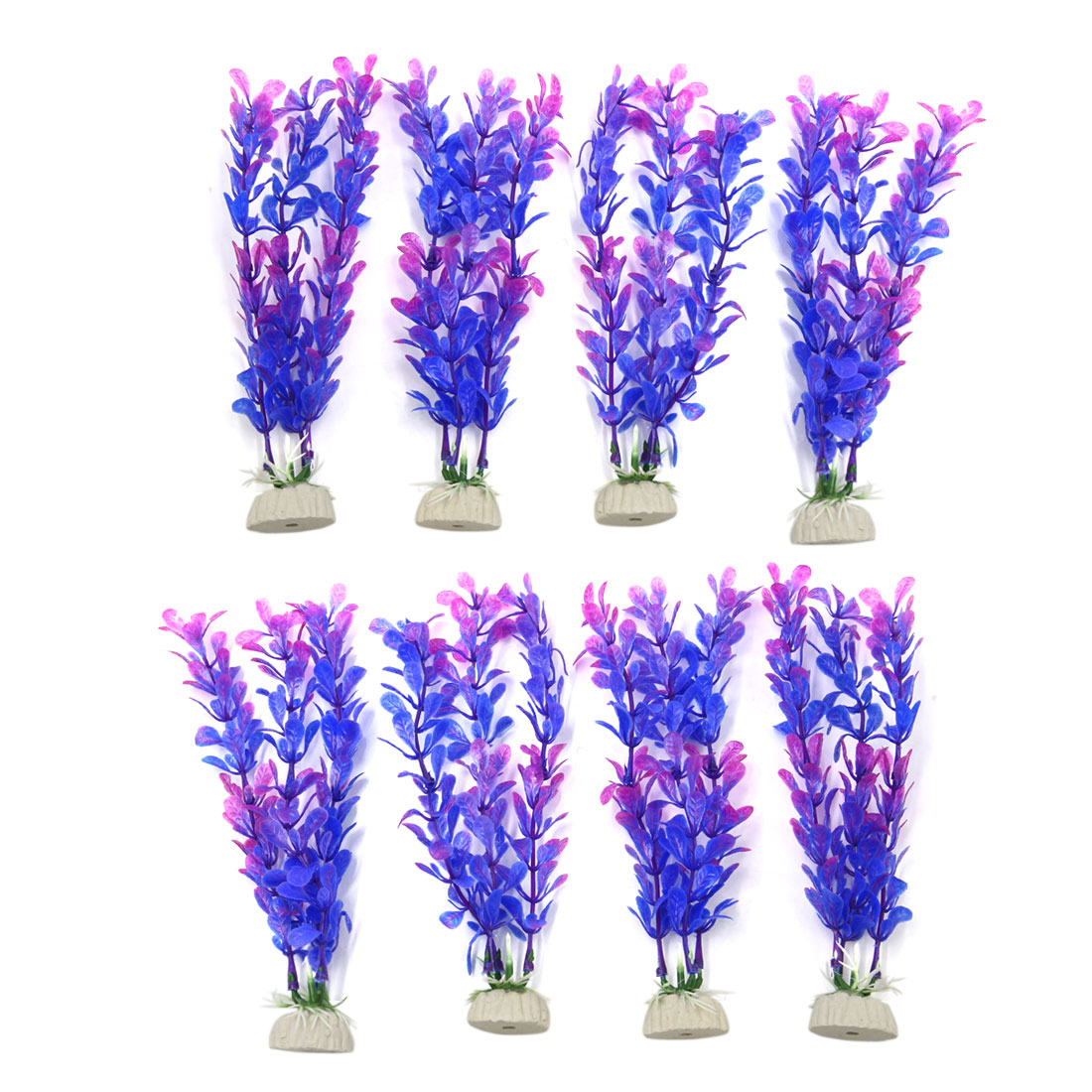 8pcs Purple Plastic Aquarium Plants Fish Tank Water Plant Decoration Ornament
