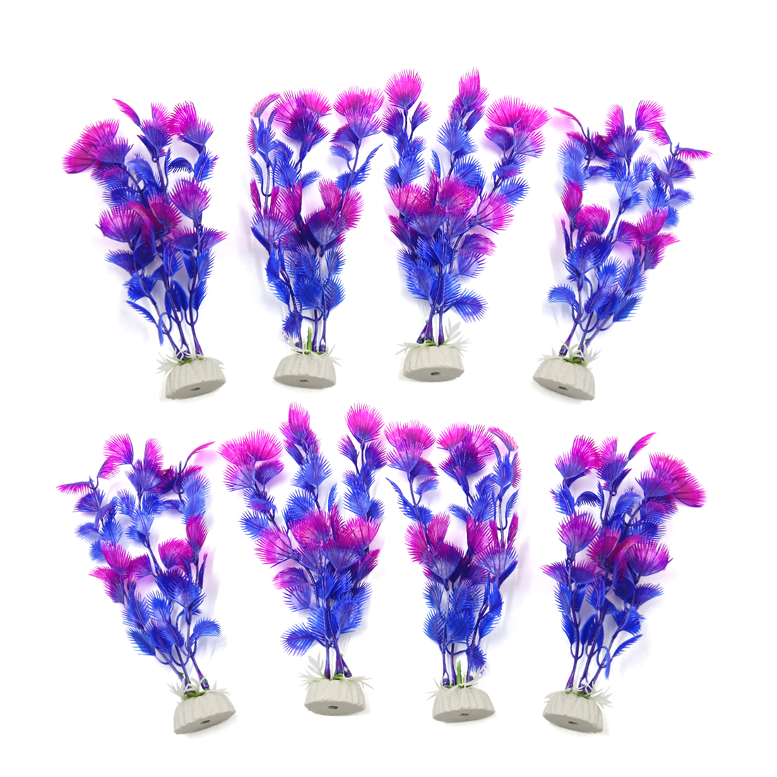 8pcs Purple Aquarium Fish Tank Aquatic Water Plant Decoration Ornament