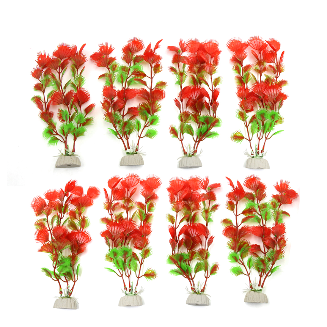 8pcs Red Plastic Aquarium Fish Tank Aquatic Water Plant Decoration Ornament
