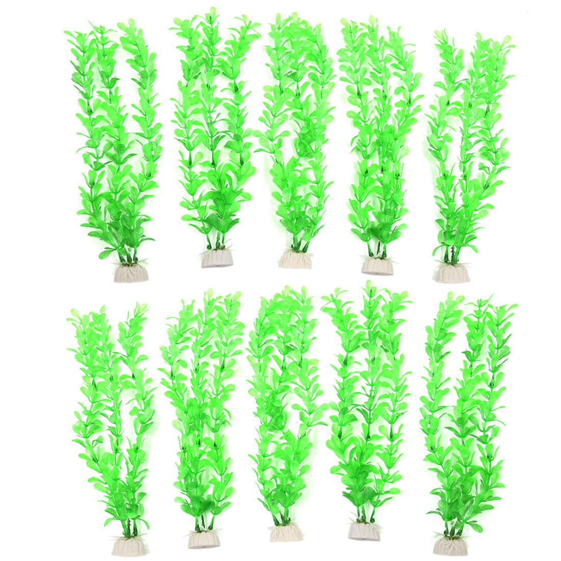 10pcs Green Plastic Aquarium Fish Tank Water Plant Decor Ornament w Ceramic Base