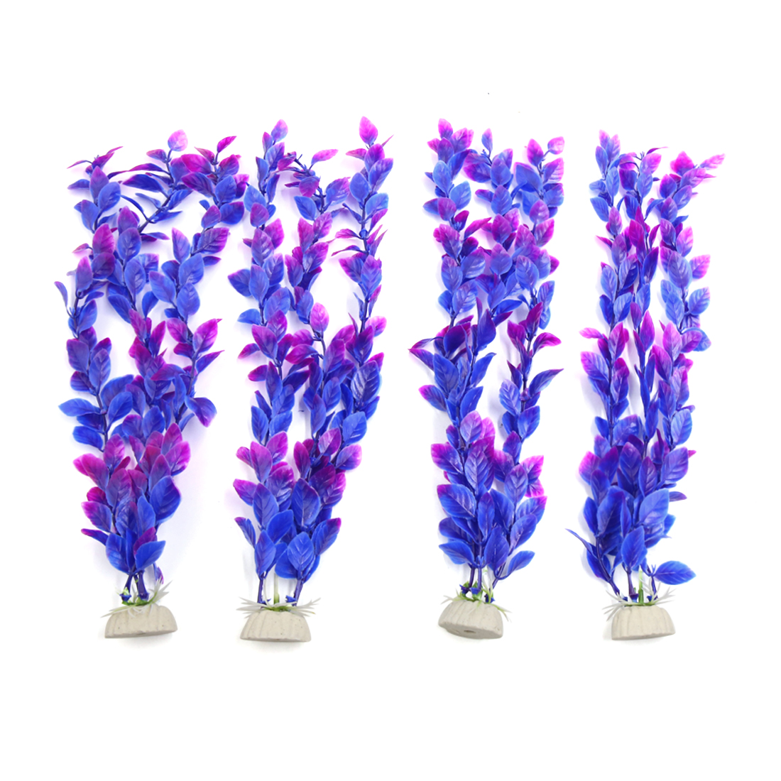 4pcs Purple Plastic Aquarium Fish Tank Aquatic Water Plant Decoration Ornament
