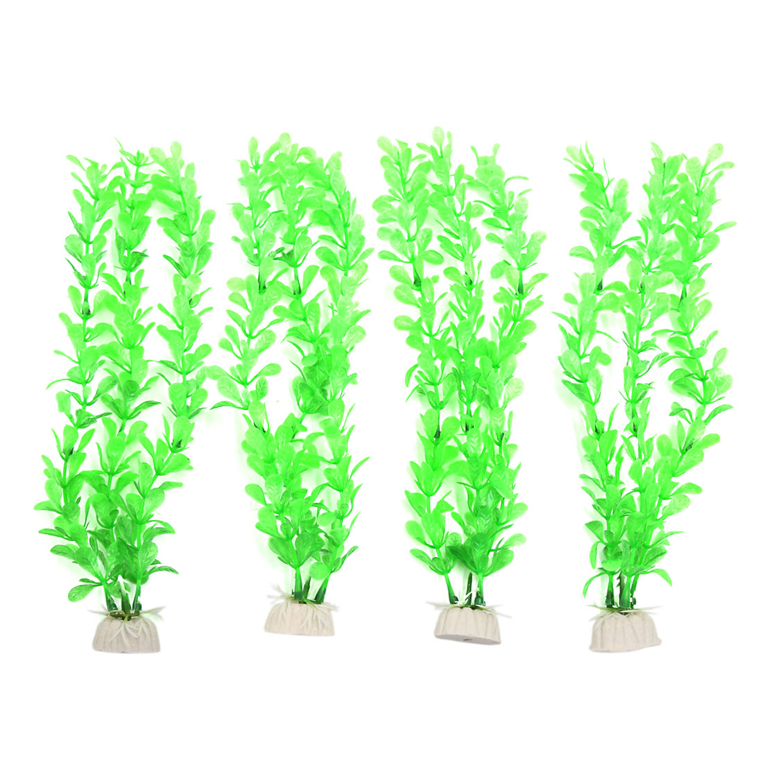 4pcs Green Plastic Aquarium Fish Tank Aquatic Water Plant Decoration Ornament