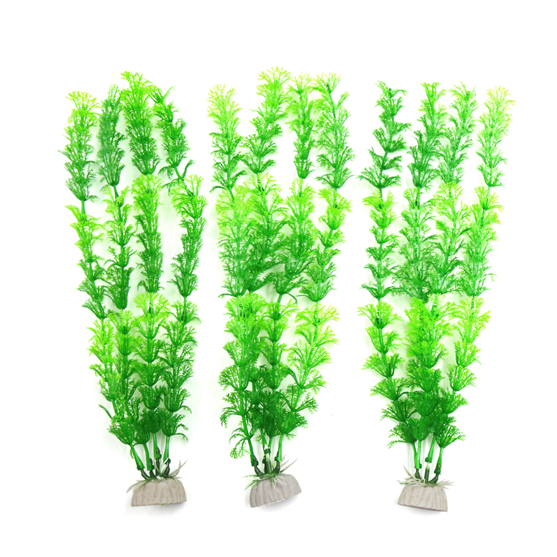 3pcs Green Plastic Aquarium Fish Tank Water Grass Plant Decorative Ornament