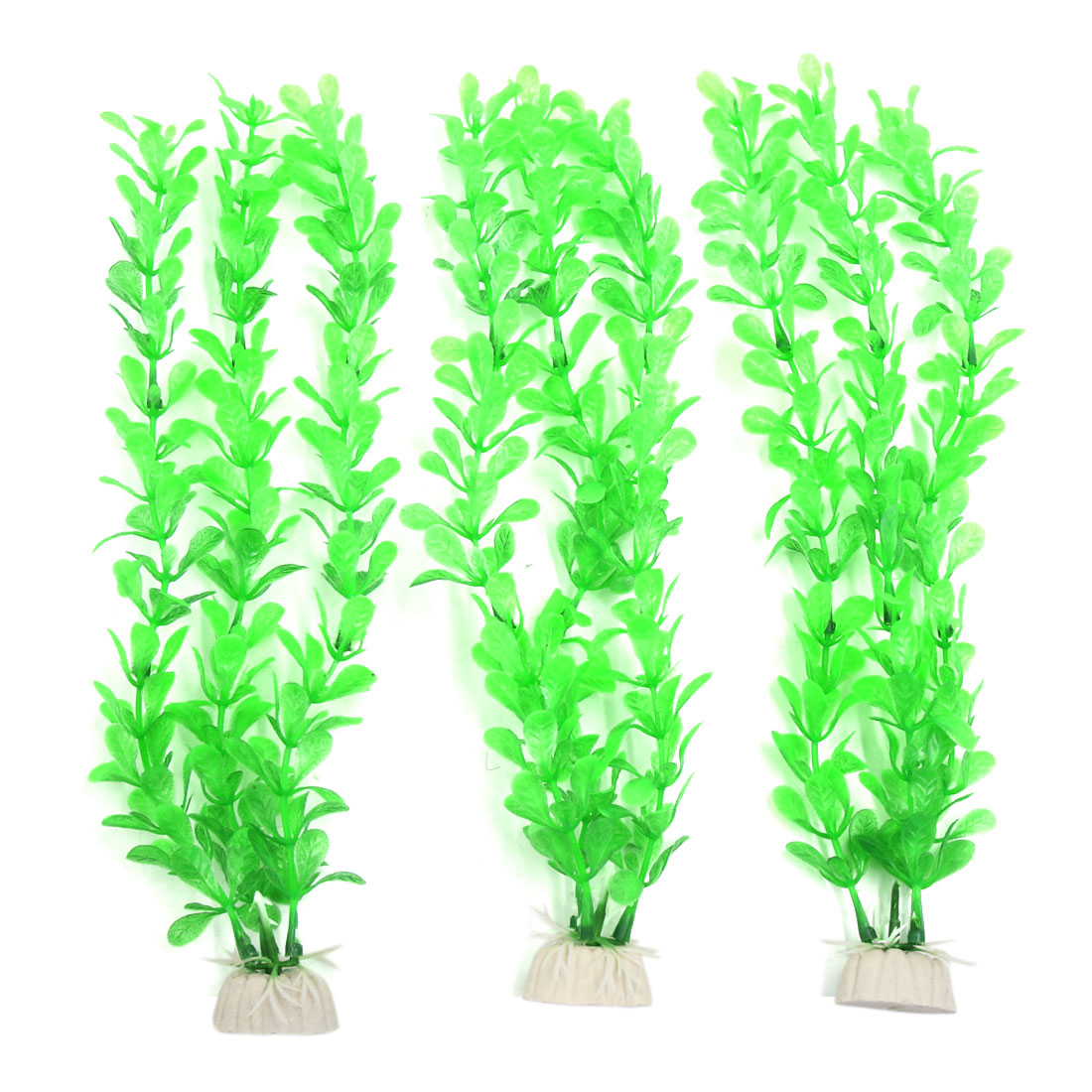 3pcs Green Plastic Aquarium Fish Tank Water Grass Plant Decorative Landscape