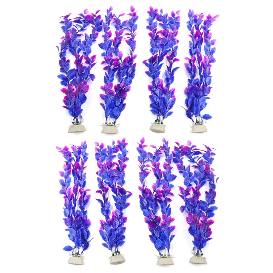 8pcs Purple Plastic Aquarium Fish Tank Water Grass Plant Decorative Landscape