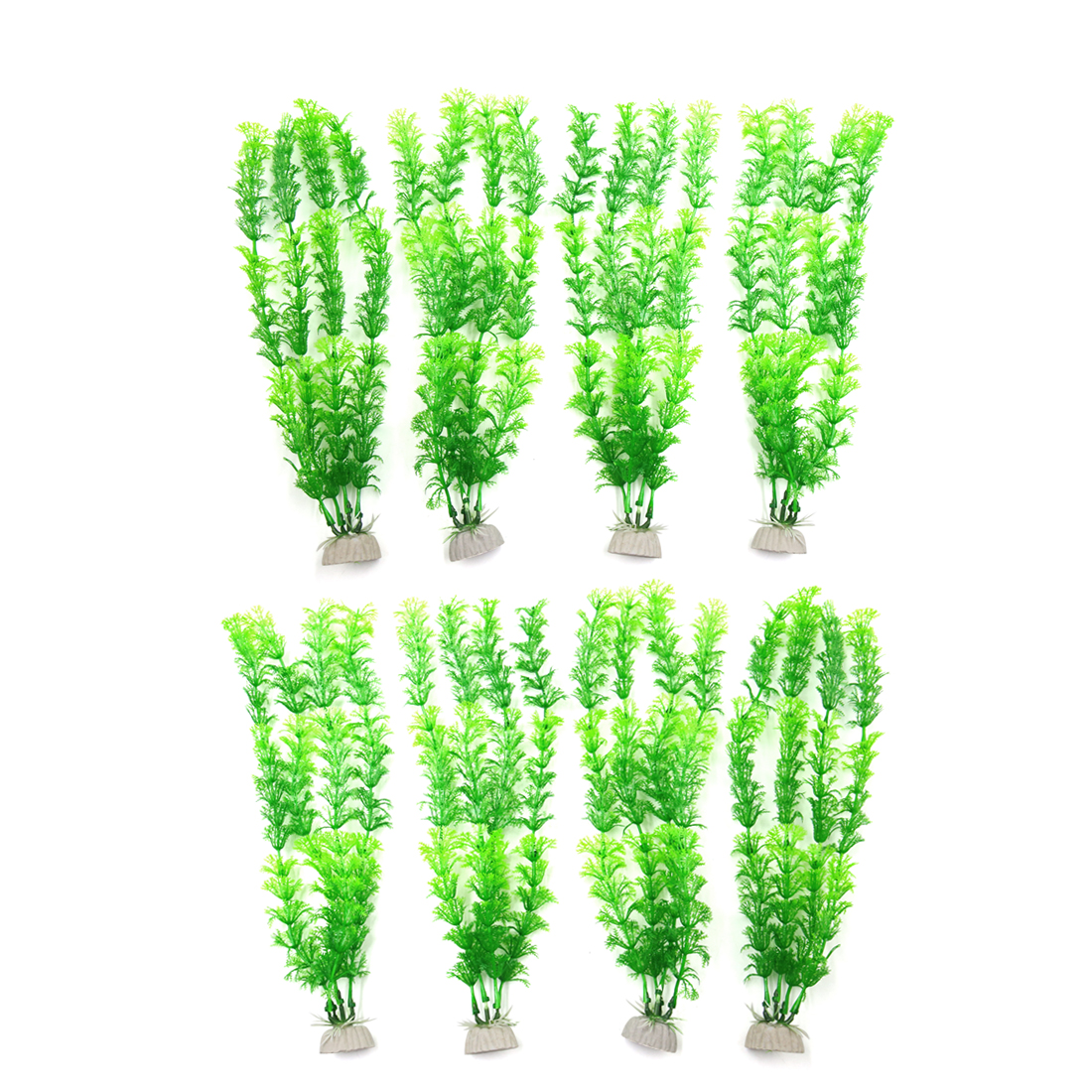 8pcs Green Plastic Aquarium Fish Tank Grass Plant Decor Landscape w Ceramic Base