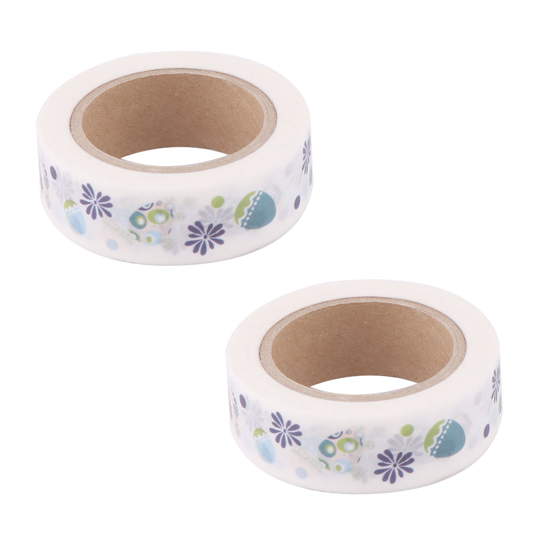 Washi Paper Flower Egg Print Notebook Sticky Label Adhesive Tape Roll 1.5cm x 10M 2pcs