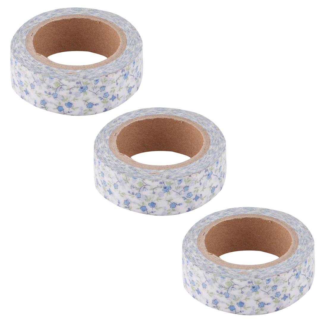Washi Paper Flower Print Gift Bag Box Decorative Sticky Craft Tape Blue 1.5cm x 8M 3pcs