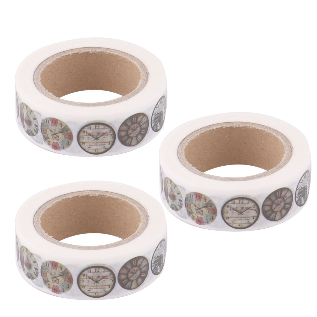Washi Paper Watch Print Gift Box Packing Sticky Label Tape Roll 1.5cm x 10M 3pcs