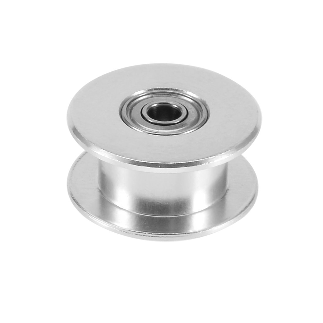 Aluminum GT2 3mm Bore Toothless Timing Belt Idler Pulley Flange with Ball Bearings for 3D Printer