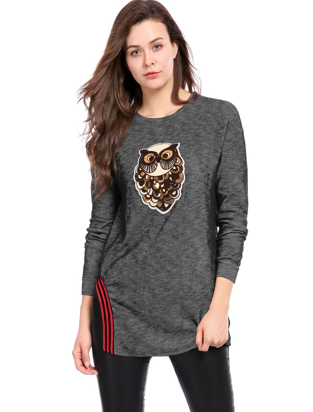 Women Owl Applique Stripe Detail Split Side Long Sleeves Top Black L