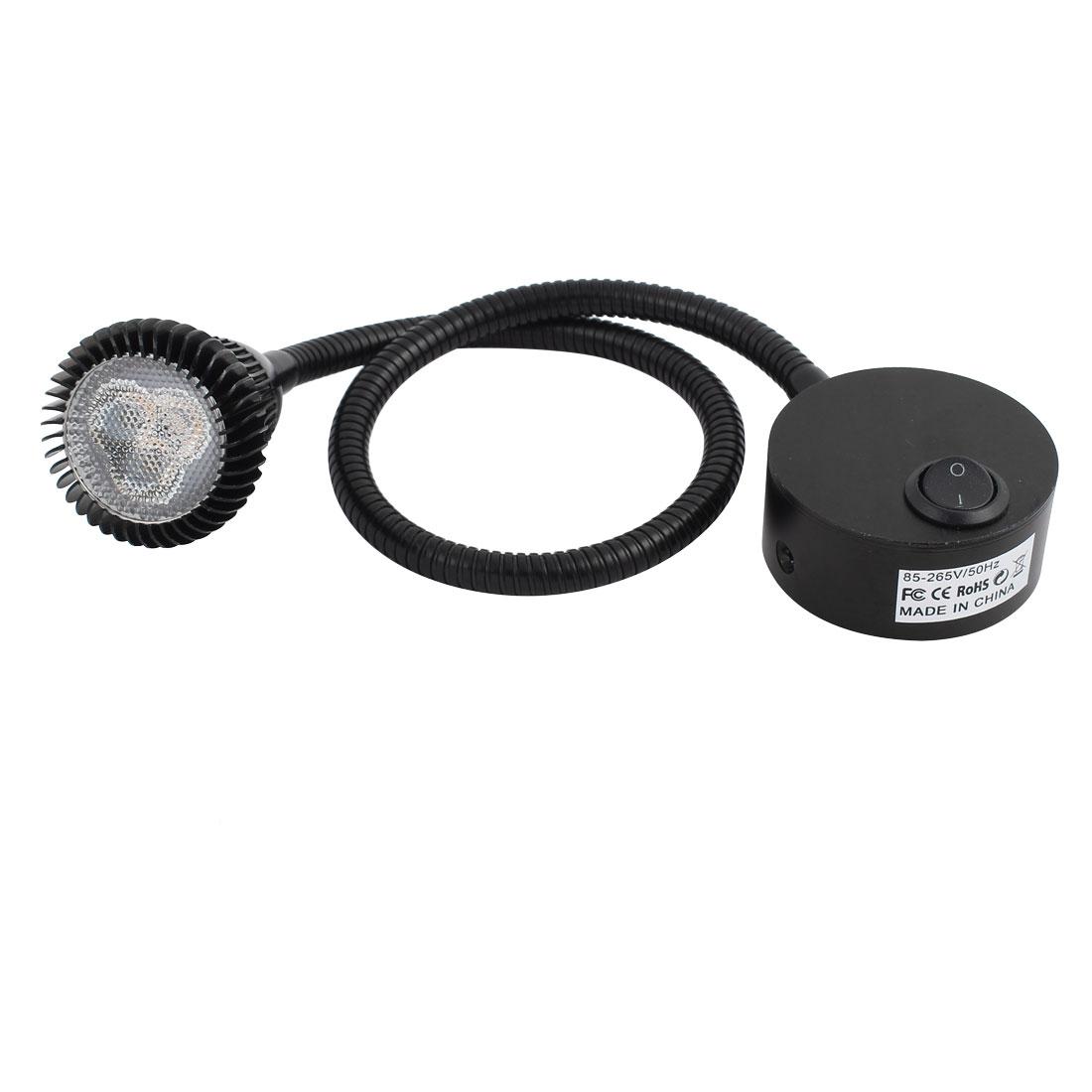 AC85-265V 3*1W 6000K 50CM Flexible Hose LED Spot Light Lamp w Switch Black