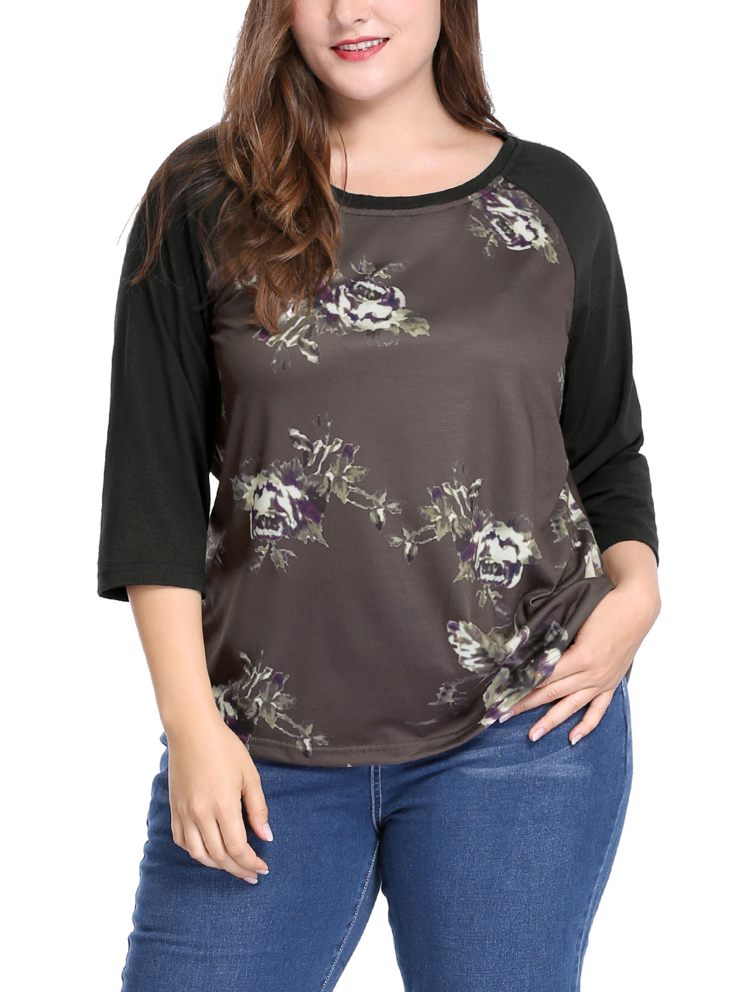 Women Plus Size 3/4 Raglan Sleeves Scoop Neck Floral Top Coffee 1X