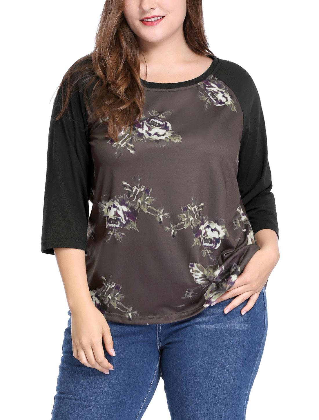 Women Plus Size 3/4 Raglan Sleeves Scoop Neck Floral Top Coffee 3X