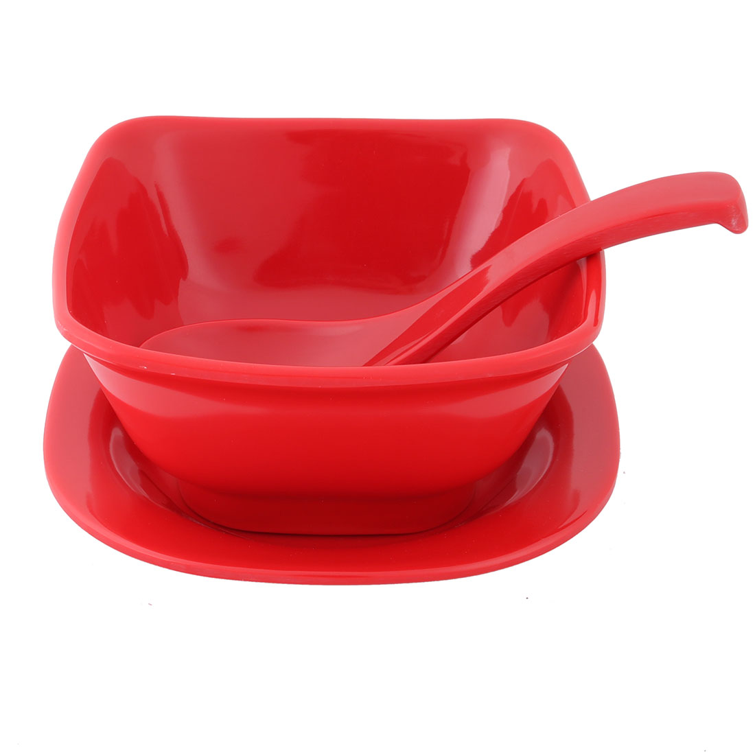 Home Kitchen Plastic Dinnerware Tableware Serving Spoon Bowl Plate Red 3 in 1