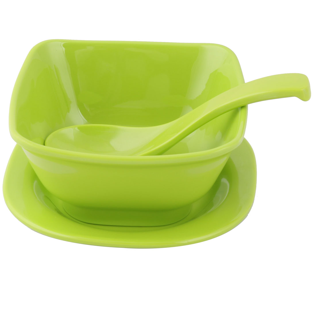 Home Kitchen Plastic Dinnerware Tableware Serving Spoon Bowl Plate Green 3 in 1