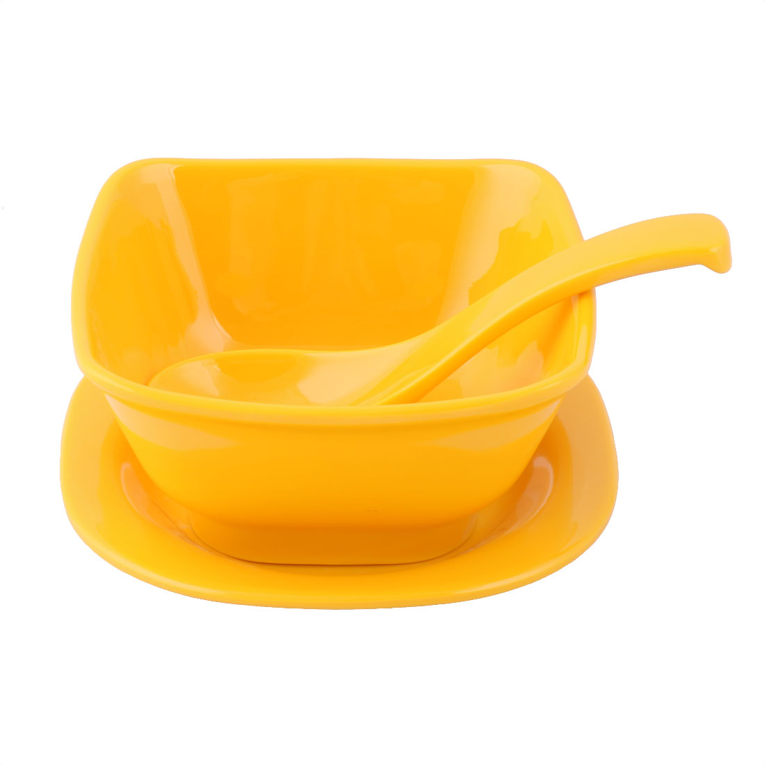 Home Kitchen Plastic Dinnerware Tableware Serving Spoon Bowl Plate Yellow 3 in 1