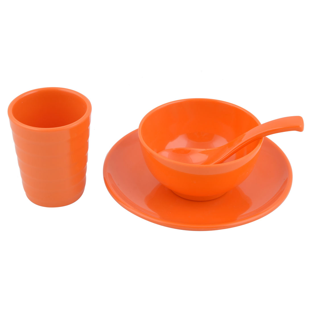 Hotel Restaurant Plastic Dinnerware Tableware Cup Spoon Bowl Plate Orange 4 in 1