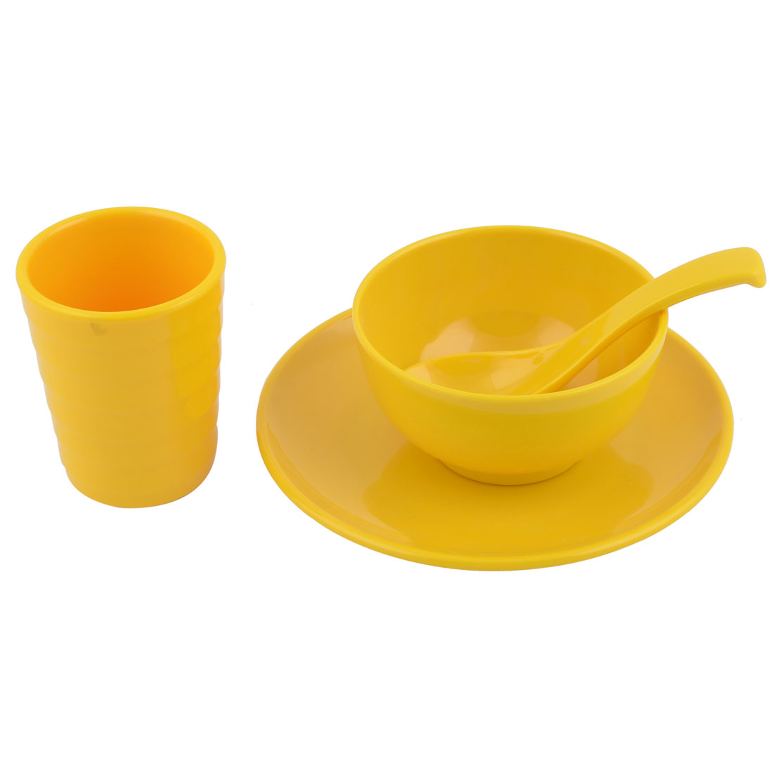 Hotel Restaurant Plastic Dinnerware Tableware Cup Spoon Bowl Plate Yellow 4 in 1