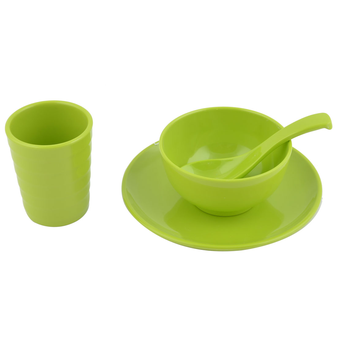 Hotel Restaurant Plastic Dinnerware Tableware Cup Spoon Bowl Plate Green 4 in 1