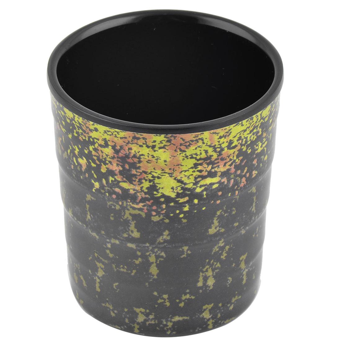 Restaurant Melamine Cylinder Tea Water Drinking Storage Cup Mug Black Yellow