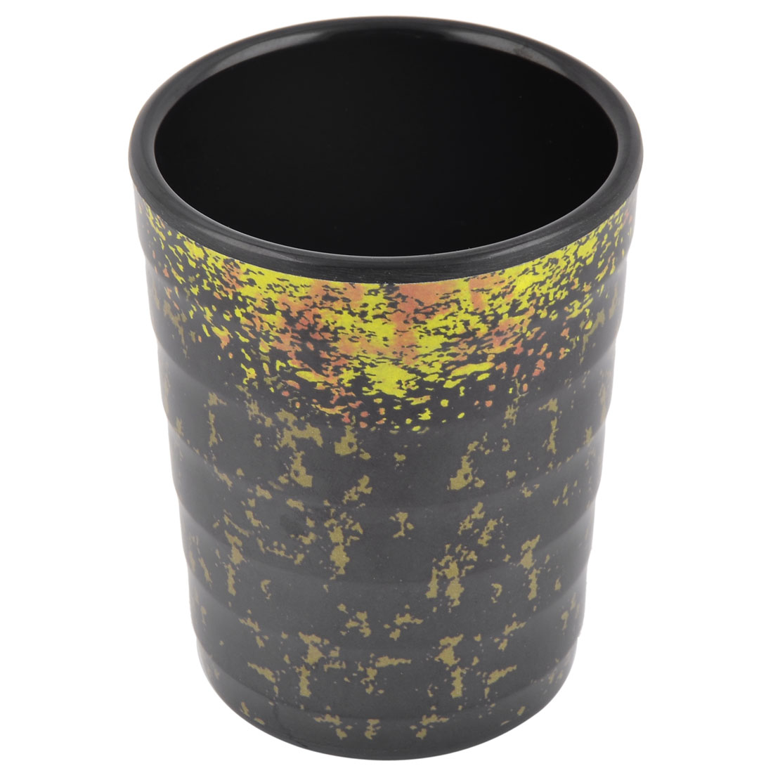 Family Kitchen Melamine Cylinder Coffee Drinking Storage Cup Mug Black Yellow