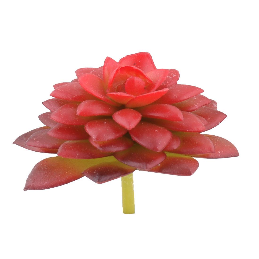 Desktop Plastic DIY Craft Artificial Succulent Plant Ornament Red 2.6 Inches Dia