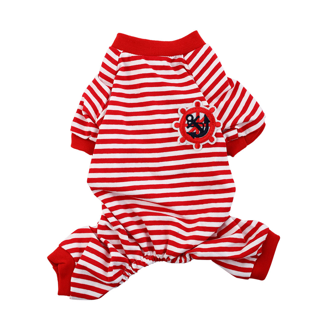 Pet Dog Puppy Anchor Rudder Embroidery Pattern Stripe Sleeping Dresses Clothes Pajamas Jumpsuit Size M