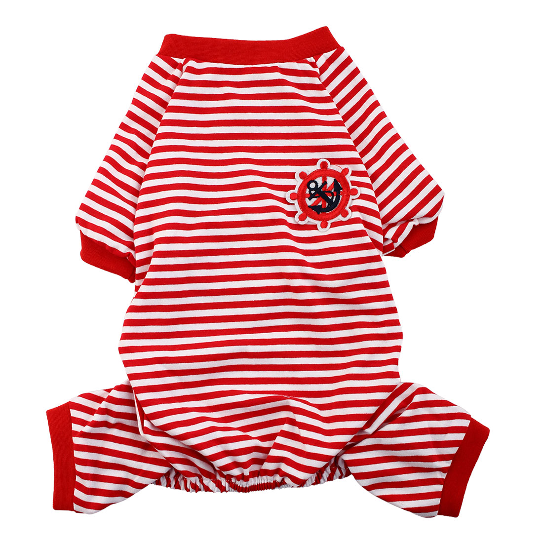 Pet Dog Puppy Anchor Rudder Embroidery Pattern Stripe Sleeping Dresses Clothes Pajamas Jumpsuit Size 2XL