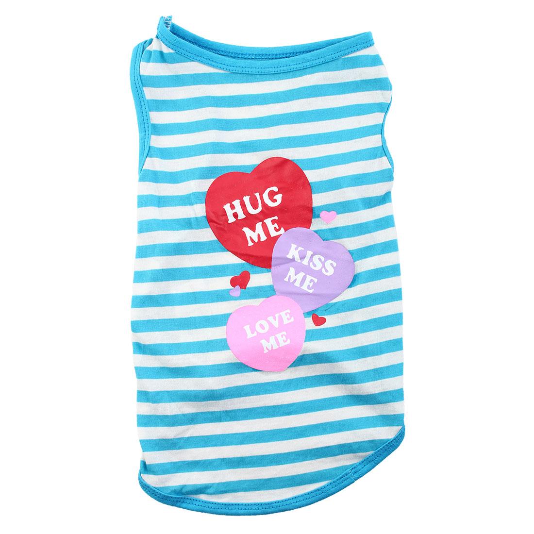 Pet Dog Puppy 3 Hearts Hug Kiss Love Me Pattern Summer Stripe Clothes T-Shirt Apparel Vest Size L