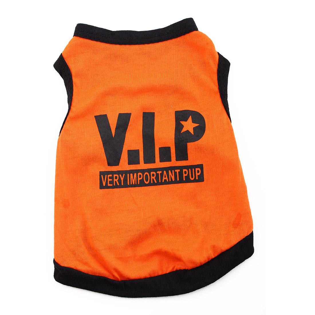 VIP Print Summer Coat Puppy Costume Pet Clothing Small Dog Cat Vest T-shirt Tee Orange Size XS