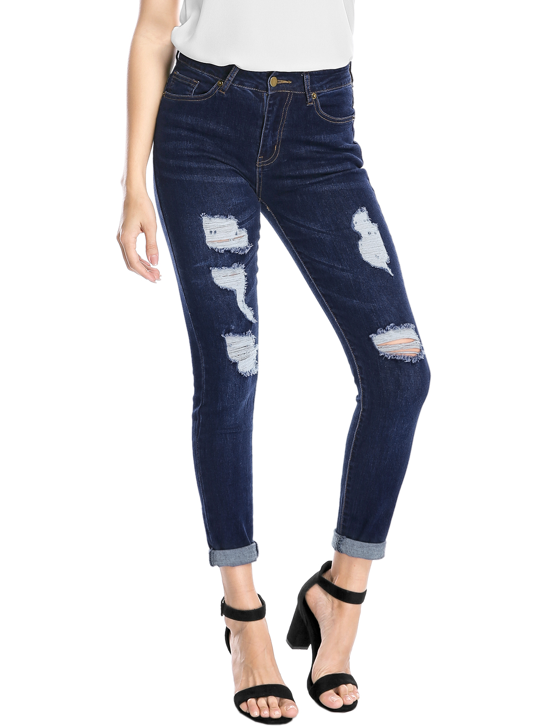 Women Distressed Design Mid Rise Washed Denim Skinny Jeans Blue L