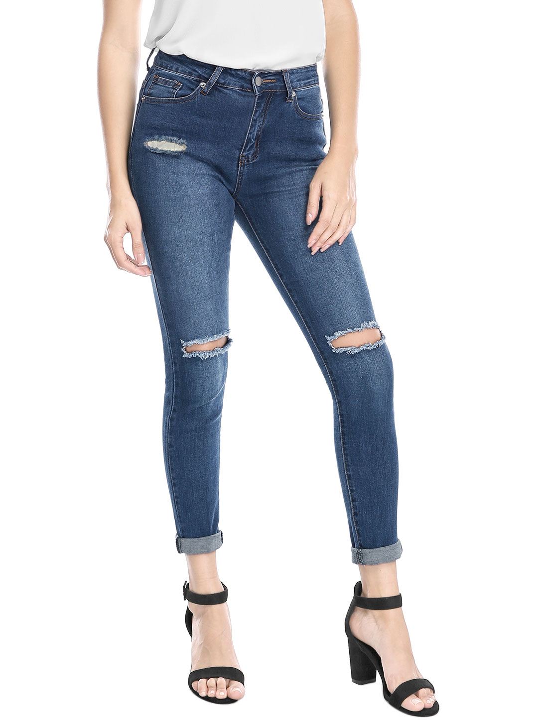 Women Mid Rise Stretch Distressed Design Skinny Jeans Blue M