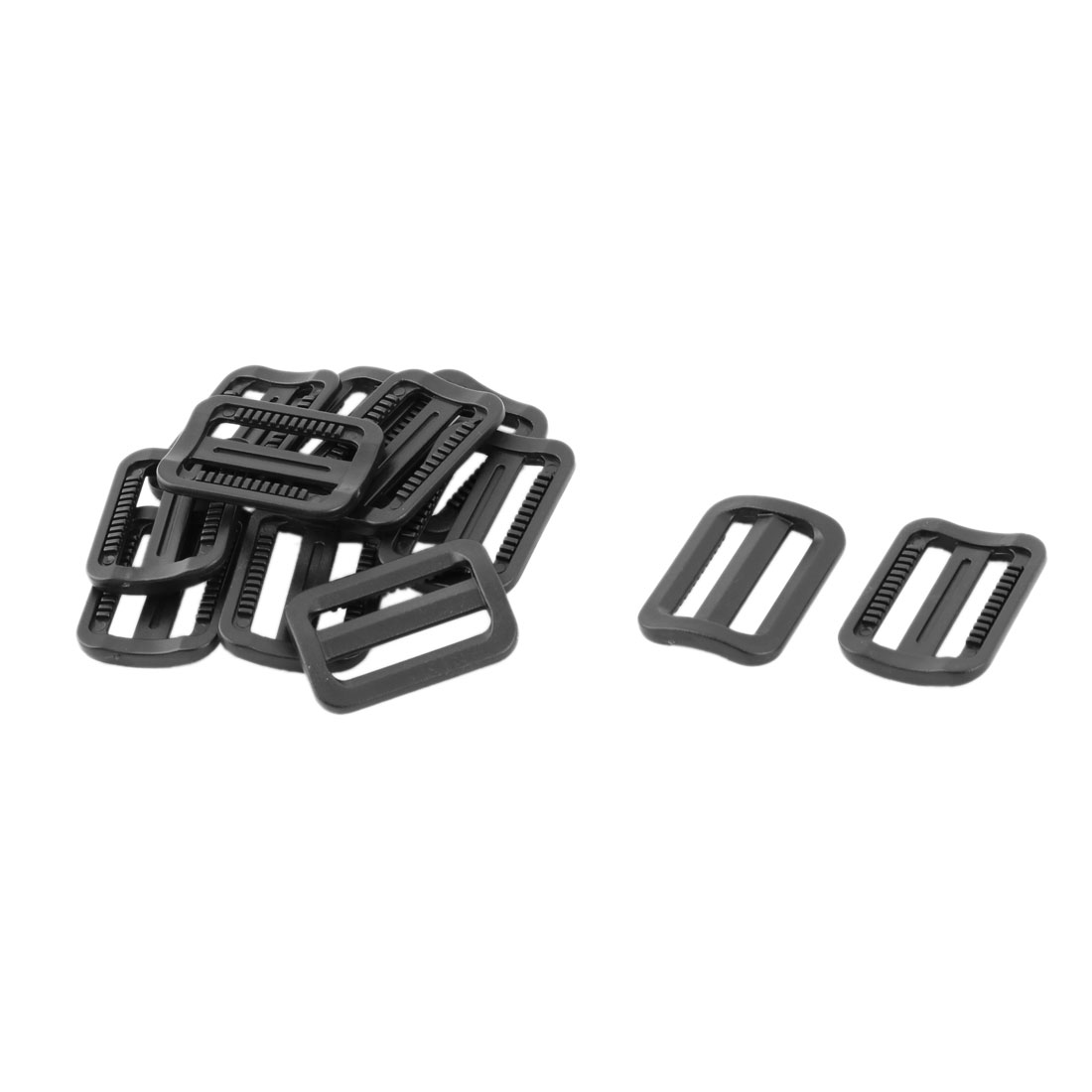 Travel Plastic Adjustable Backpack Tri Glide Buckle Black 25mm Strap Width 12pcs
