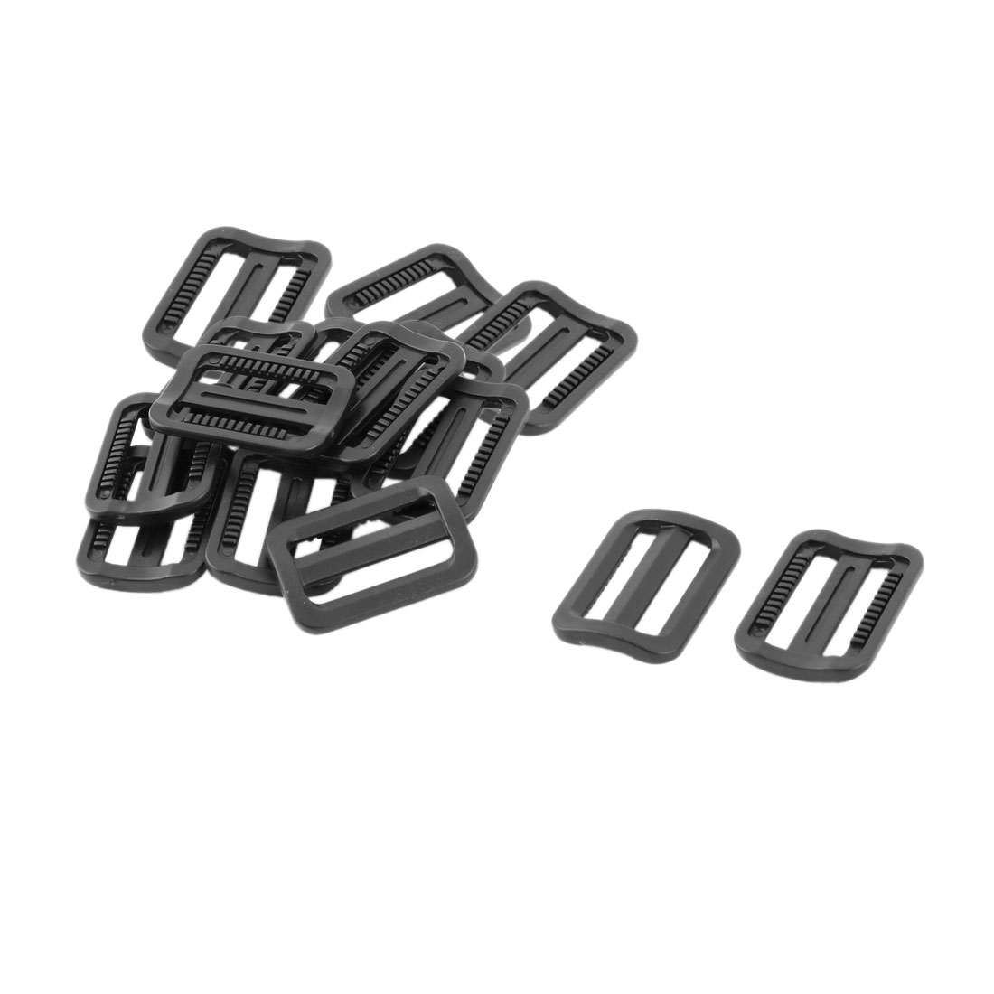 Travel Plastic Adjustable Backpack Tri Glide Buckle Black 25mm Strap Width 15pcs