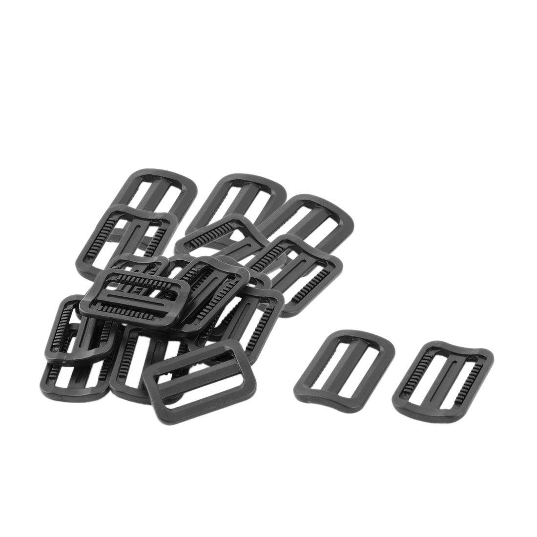 Travel Plastic Adjustable Backpack Tri Glide Buckle Black 25mm Strap Width 18pcs