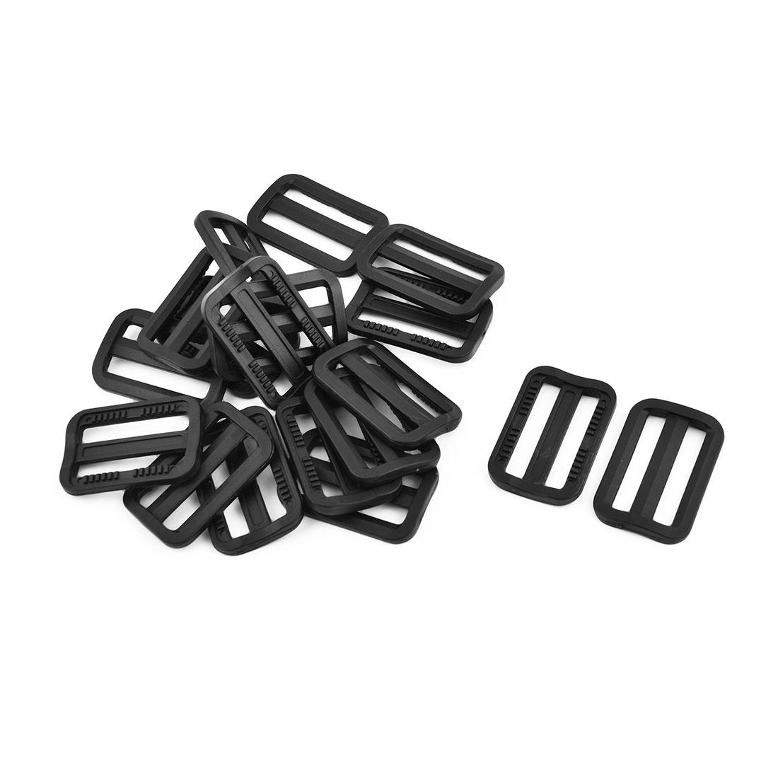 Plastic Adjustable Backpack Bag Tension Tri Glide Connecting Buckle Black 18 Pcs