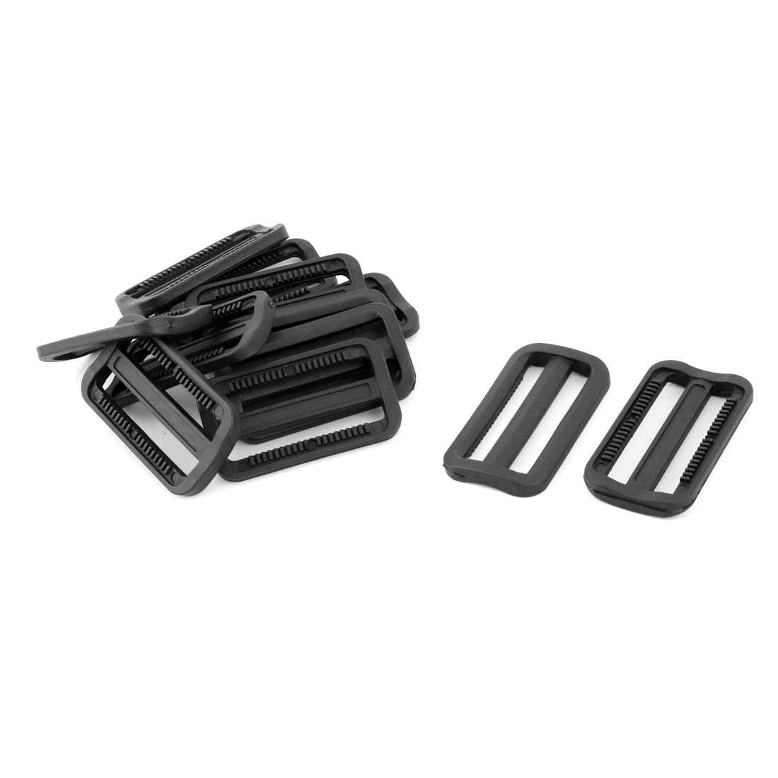 Outdoor Plastic Adjustable Backpack Strap Tri Glide Buckle Black 2.4 Inches Length 12pcs