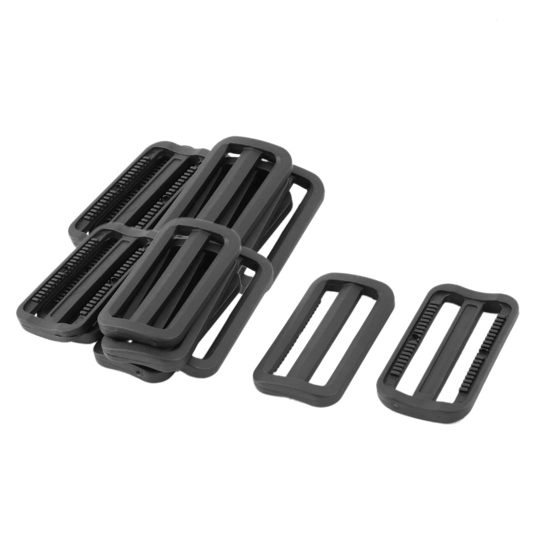 Outdoor Plastic Adjustable Backpack Strap Tri Glide Buckle Black 2.4 Inches Length 15pcs