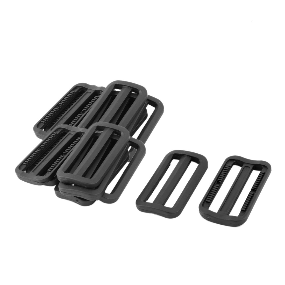 Outdoor Plastic Adjustable Backpack Strap Tri Glide Buckle Black 2.4 Inches Length 18pcs
