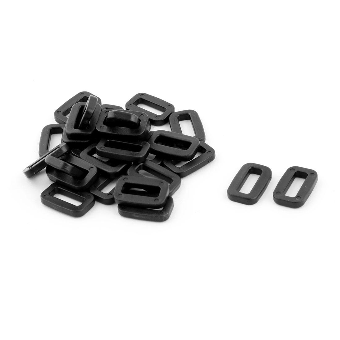 Plastic Schoolbag Belt Adjustive Fastener Tri Glide Buckle Black 15mm Strap Width 30pcs