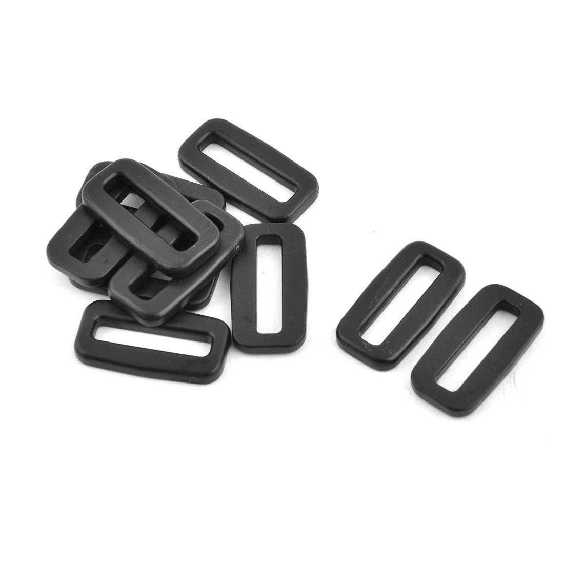 Plastic Adjustable Lock Connect Tri Glide Buckles Black 25mm Strap Width 10 Pcs